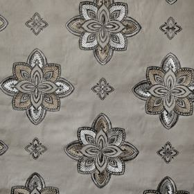 Tango - Hessian - Cotton, viscose and polyester blend fabric featuring a stylised floral pattern in elegant, sophisticated shades of grey