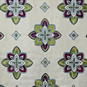 Tango - Orchid - Lime green and rich purple coloured stylised floral designs patterning pale grey cotton, viscose and polyester fabric