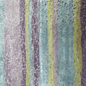 Cha Cha - Topaz - A pastel blue, purple and green vertical stripe design on viscose, polyester and cotton fabric, with a crackled finish