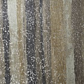 Cha Cha - Hessian - Beige and various shades of grey making up a vertically striped, slightly crackled viscose, polyester and cotton fabric