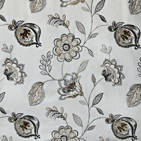 Flamenco - Hessian - Light and dark grey shades making up a sophisticated pattern of detailed florals on cotton, viscose and polyester fabri