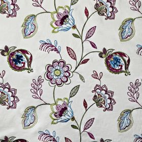 Flamenco - Orchid - Royal purple, icy grey, green-grey & white fabric made from cotton, viscose & polyester, with elegant, detailed florals