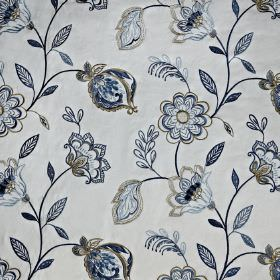 Flamenco - Colonial - Detailed, elegant floral patterns covering cotton, viscose and polyester blend fabric in various elegant shades of gre