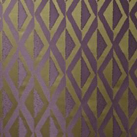 Jive - Topaz - Simple, stylish diamond patterns covering rich purple and dark, matt gold coloured 100% polyester fabric