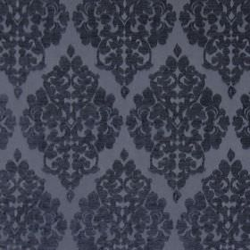 Rivoli - Royal - Royal blue fabric with classic diamond foliage grid