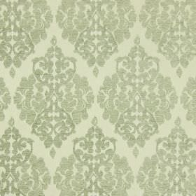 Rivoli - Celedon - Celadon green fabric with classic diamond foliage grid