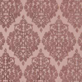 Rivoli - Rose Dust - Rose dust red fabric with classic diamond foliage grid