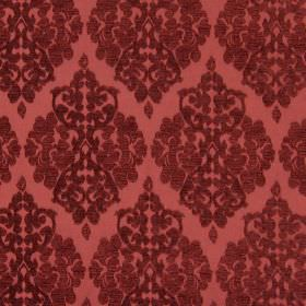 Rivoli - Bordeaux - Bordeaux red fabric with classic diamond foliage grid
