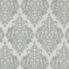Rivoli - Silver - Silver fabric with classic diamond foliage grid
