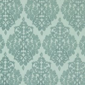 Rivoli - Azure - Azure blue fabric with classic diamond foliage grid
