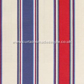 Purbeck - Nautical - Nautical blue and red striped fabric