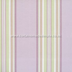 Peveril Point - Lavender - Narrow light green stripes on lavender purple fabric
