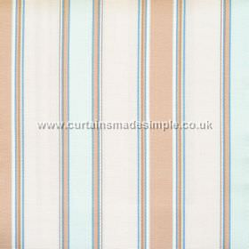 Purbeck - Azure - Azure blue and sandy striped fabric