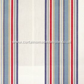 Peveril Point - Nautical - Narrow nautical blue stripes on white fabric