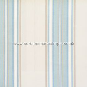 Peveril Point - Azure - Narrow azure blue stripes on white fabric