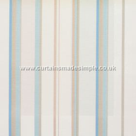 Poole Harbour - Azure - Fabric with narrow azure blue stripes with white bands