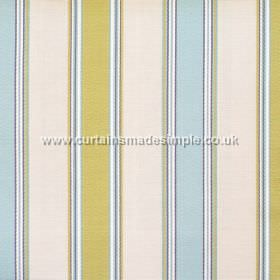 Purbeck - Lichen - Lichen blue and brown/green striped fabric