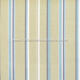 Poole Harbour - Celedon - Fabric with narrow celedon blue stripes with green bands