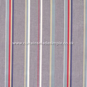 Poole Harbour - Navy - Fabric with narrow navy blue stripes with grey bands