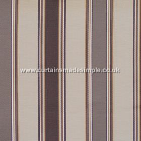 Purbeck - Latte - Latte brown and dark brown striped fabric