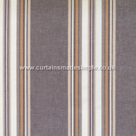 Peveril Point - Walnut - Narrow walnut brown stripes on grey/purple fabric