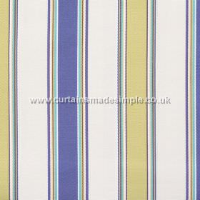 Purbeck - Atlantic - Atlantic blue and yellow striped fabric