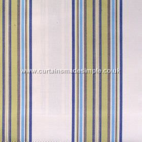 Peveril Point - Atlantic - Narrow atlantic blue stripes on white fabric