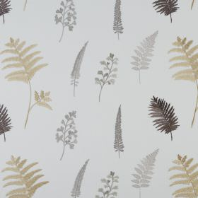 Fauna - Natural - Fern leaves printed in beige and shades of grey on white fabric made from a mixture of polyester and cotton