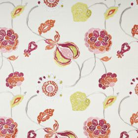 Flora - Tropical - Pink, orange and citrus coloured leaves, flowers and seed pods printed on a white polyester and cotton fabric background