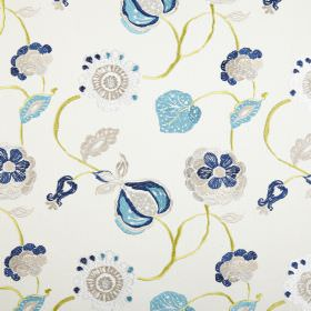 Flora - Petrol - Shades of blue and grey making up a stylised leaf and seed pod design on polyester and cotton blend fabric in white