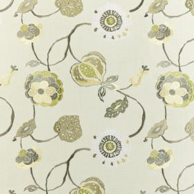Flora - Avocado - Polyester and cotton blend fabric in off-white, patterned with leaves & seed pods in shades of light green, cream & grey