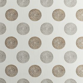 Floret - Natural - Rows of concentric dark brown and light grey circles arranged over a background of off-white polyester and cotton fabric