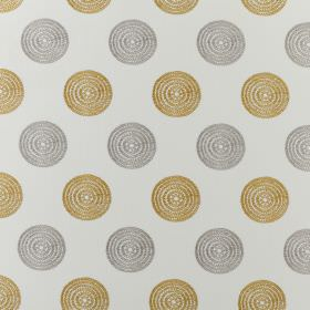Floret - Ocre - Very pale grey polyester and cotton blend fabric patterned with rows of concentric circles insilver and gold
