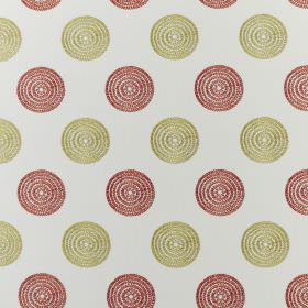 Floret - Tropical - Concentric circles in dusky shades of red and green arranged in rows on white fabric made from polyester and cotton