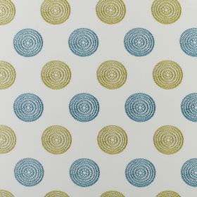 Floret - Petrol - Off-white, light green and aqua blue coloured polyester and cotton blend fabric featuring rows of concentric circles