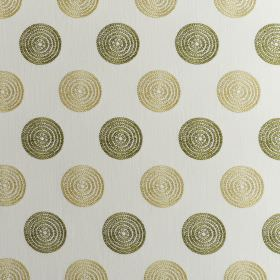 Floret - Avocado - Gold and olive green coloured concentric circles arranged in rows over white fabric made from polyester and cotton