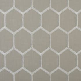 Treillage - Natural - Rows of white hexagons arranged over grey fabric made from a combination of polyester and cotton