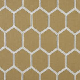 Treillage - Ocre - Polyester and cotton blend fabric in gold, patterned with a honeycomb style hexagon pattern in white