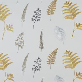 Fauna - Ocre - Polyester and cotton blend fabric in a very pale shade of grey, printed with fern leaves in shades of grey and gold