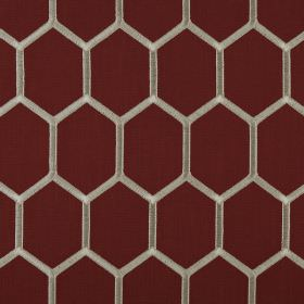 Treillage - Paprika - Dark brown and pewter coloured fabric made from polyester and cotton, featuring a honeycomb style hexagon design