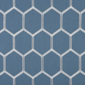 Treillage - Petrol - Fabric made from polyester and cotton with a honeycomb style hexagon pattern in white and cobalt blue