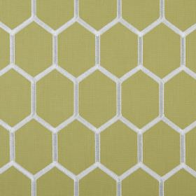 Treillage - Avocado - Lime green and white coloured fabric made from polyester and cotton, patterned with a honeycomb style hexagon design