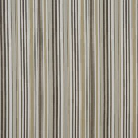 Heligan - Natural - Vertically striped 100% cotton fabric featuring colours such as grey, beige, brown and white