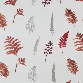 Fauna - Paprika - Brick red and light grey coloured fern leaves printed on a white polyester and cotton blend fabric background