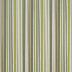 Heligan - Avocado - Fabric made entirely from cotton, featuring a vertical stripe design in white and light shades of green and grey