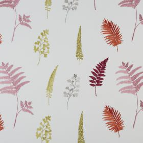 Fauna - Tropical - Leaf patterned polyester and cotton fabric with a pink, mulberry, burnt orange, green and grey design on a white background
