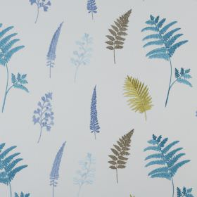 Fauna - Petrol - Fabric made from polyester and cotton in very pale grey, printed with fern leaves in green and several shades of blue
