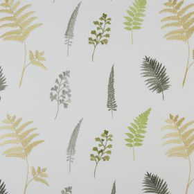 Fauna - Avocado - Shades of grey, green and light gold making up a fern leaf print design on white fabric made from polyester and cotton