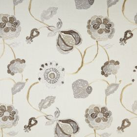 Flora - Natural - Stylised leaves and seed pods printed in shades of grey-brown on white fabric made from a mixture of polyester and cotton
