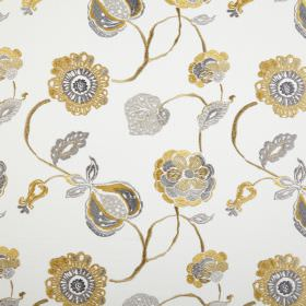 Flora - Ocre - White polyester and cotton blend fabric patterned with grey and brown designs of stylised leaves, flowers and seed pods